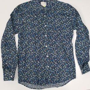 Saturday Surf NYC Blue Printed Shirt Sz Med